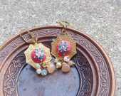 Pearl, Welo Fire Opal, Peach Moonstone, Coral, Clay Applique, Clay Embroidery, Polymer Clay Earrings, Colourful, Frida Khalo, Ethnic, Indian
