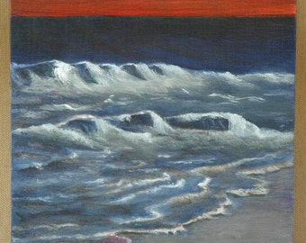 "Sunset Over The Waves Original Acrylic Painting 8"" x 10"""