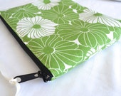 Cosmetic Zipper Pouch Make up Bag - Green White Modern Floral