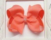 Custom CORAL Hair Bow, small, medium, large, extra large, Choose your Style, boutique, pinwheel, tails down, classic, international shipping