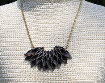 Leather Petal Necklace w/ brass snake chain and bright color details - large textured statement necklace - OOAK