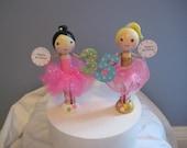 Girls Birthday Cake Topper, ballerina, fairy,   clothespin doll, pink, age, custom, tulle,  girl, Custom