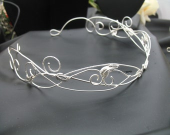 Woodland Bridal Circlet, Sterling Wedding Circlet, Woodland Renaissance Wedding Tiara, Leaf Circlet, Sterling Silver Headpiece, Gemstone