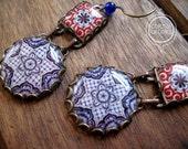 Portuguese pottery design earrings, Spanish tile pattern earrings, dangle earrings, statement earrings, Spain, Portugal, Folk art jewelry