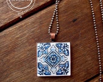 Portuguese tile jewelry, Portuguese tile design pendant necklace, Boho necklace, folk art jewelry, copper, Tile design