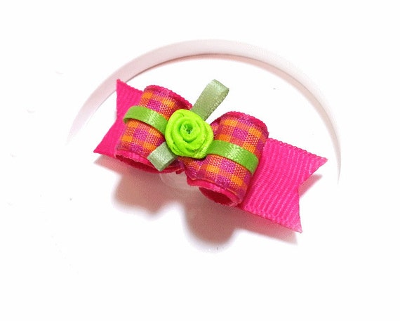 Dog Hair Bows, Pink Plaid Pet Bow for Dogs
