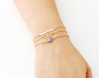 Skinny Gold Bar Bracelet / Silver Rose Gold Skinny Bar Bracelet, Infinity, Bezel Gemstone Bracelet / Stacking Bracelets Set Layering