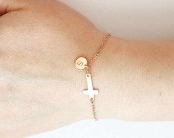 Personalized Cross Bracelet, Rose Gold Minimalist Religious Cross Jewelry, Gold Initial Circle Disc Bracelet, Silver Tiny Charm Bracelet