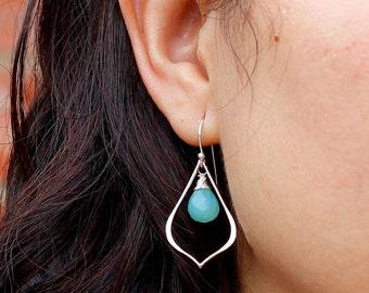 Customized Gemstone or Birthstone Earrings, Modern Teardrop Frame Earrings, Silver or Gold Bohemian Earrings, Choose your stone