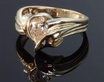 14K Gold Pear Shaped Diamond (.52 carat) Ring by Cavallo Fine Jewelry