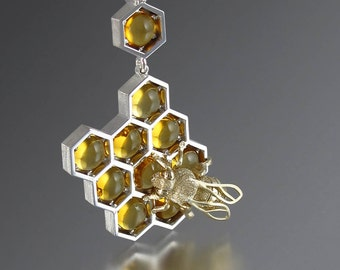 SWEETER THAN HONEY silver and 14k gold honeycomb and bee pendant with citrine and white sapphires