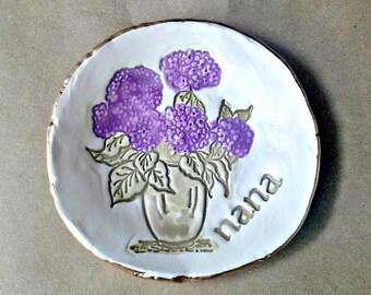 Ceramic Trinket Bowl Jewelry Holder Ring Dish  hydrangea edged in gold NANA