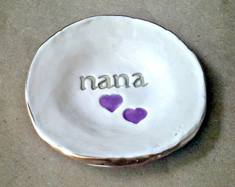 Ceramic NANA Trinket Bowl  edged in gold  Mothers day