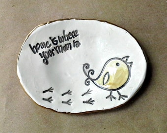 Ceramic Trinket Ring Bowl  edged in gold  Mothers day
