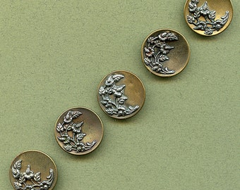 "Large Victorian Buttons Matching Set of (5) Antique Metal Floral Picture 1"" size 1367"