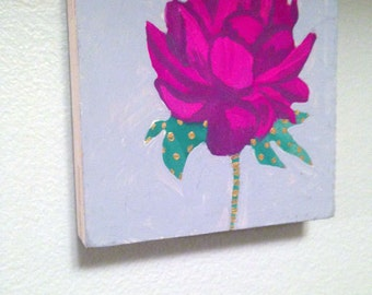Mystery Flower ... small original gouache painting with metallic gold painted accents of intrigue