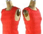 1960s Crochet Tank / Vintage Handmade Pull Over Sweater Tank Top in Watermelon Pink / OOAK