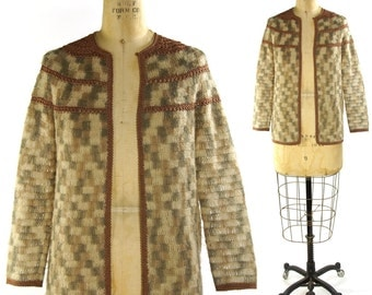 Crochet Trim Mohair Cardigan / Vintage 1970s Handmade Sweater