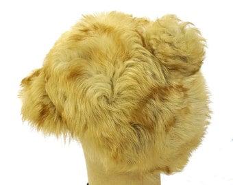 1960s Shearling Hat with Pom Pom / Vintage Sheepskin Cap