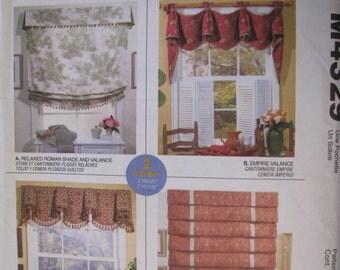 McCall's UNCUT Home Dec in a Sec - Roman Shade, Valance 2 hour Pattern # M4329 designed by Sue Sampson & Ellen DeLucia
