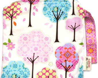 Small 9 x 9 Wet bag  / Snack / Swim / Diapers / Cotton Candy Forest Fabric / SEALED SEAMS and Snap Strap