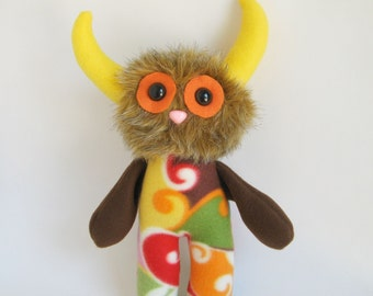 Stuffed Animal Monster Doll Plush Toy Kawaii Plushie Softie Orange Green Yellow Pink Brown Blue Colorful Snuggly Cuddly Cute Horns Huggable