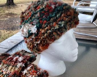 Handspun artyarn, hand knit beanie hat