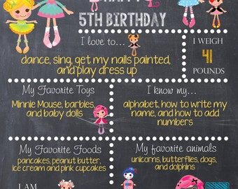 LaLa Doll Lala Loopsy inspired Chalk Board Poster