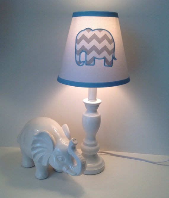elephant nursery lamp shade white background gray chevron elephant. Black Bedroom Furniture Sets. Home Design Ideas