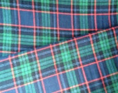 John Green Plaid Cotton Flannel Fabric - Forest Green - Navy Blue - Red - One Yard Fabric