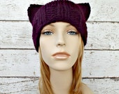 Purple Womens Hat - Purple Cat Beanie Hat Eggplant Purple Knit Hat - Purple Hat Purple Beanie Womens Accessories Wnter Hat - READY TO SHIP
