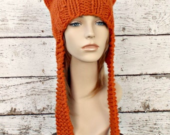 Orange Knit Hat Orange Womens Hat - Orange Ear Flap Cat Hat Orange Knit Hat - Orange Hat Orange Beanie Womens Accessories