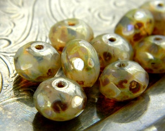Champagne Tweed (10) -Czech Glass Faceted Rondelles 8x6mm