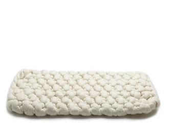 Natural white wool roving wool felt table runner