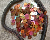 Vintage Sequins Strand COPPER AB RAINBOW Flat Metallic 5mm couture lot full strand