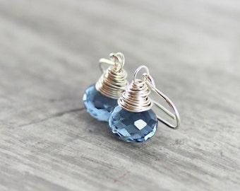 Blue Quartz Earrings, Small Dangle Earrings, Wire Wrap Earrings, Sterling Silver Earrings, London Blue Earrings, Blue Gemstone Earrings
