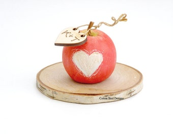 Fourth Wedding Anniversary 'Fruit'  Mini Clay Apple with initial heart