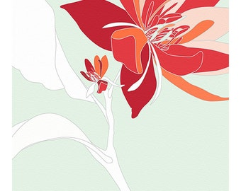 Red Flower on Mint Print