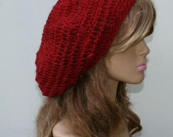 Chili Red Slouchy Beanie, Hippie Hemp Wool Tam hat, small Dread Tam, Beret Hat, woman beanie, natural Handmade beanie, slouch beanie red hat