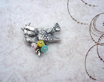 Bird Brooch - Antique Silver Finish - Bird Pin - Bird On A Branch