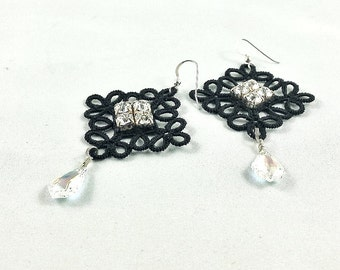 Glam evening earrings. Romantic sparkly earrings with lace and Swarovski crystals. Black earrings