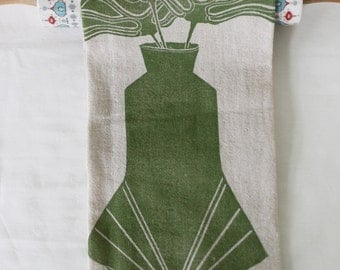 SALE! Avocado Three Flowers in Art Deco Vase Block Printed Handmade Tea Towel-100% cotton kitchen towel-Handprinted Towel