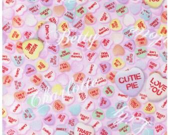 HALF YARD - Trast Me Roretta - Valentine Candy Hearts on Pink -Conversation Hearts Love You Cutie Pie Kiss Me Sweet Talk - Japanese Import