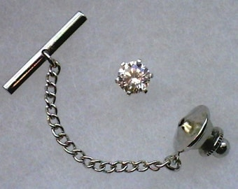 5mm White Cubic Zirconia in 925 Sterling Silver Tie Tack