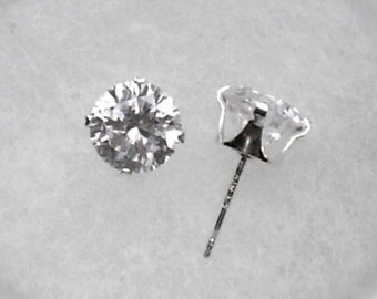7mm White Cubic Zirconias in 925 Sterling Silver Stud Earrings SnapsByAnthony