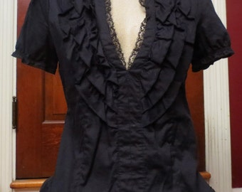 Ladies Plunging Neckline Blouse Black Ruffle Peasant Top S/M Gothic