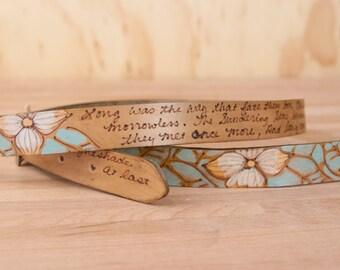 Leather Mandolin Strap - Personalized Rebecca Smokey with Dogwood Flowers - Custom Mandolin Strap for A or F Style Mandolins