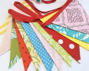 Extra Long Carnival Themed Fabric Bunting, Ready 2 Ship, 13 Flags, Birthday Party Banner, Red, Pink, Yellow, Aqua Photography Prop, Weddings