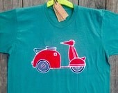 Scooter batik men's shirt Eco friendly teal green individually hand drawn hand painted hand dyed