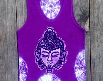 Buddha head meditation Yoga tank top batik tie dye hand dyed purple Yoga clothes, women ribbed top, hand painted tank top, batik yoga top